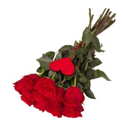 11 róż z sercem