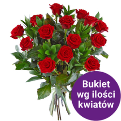 32 róż z przybraniem