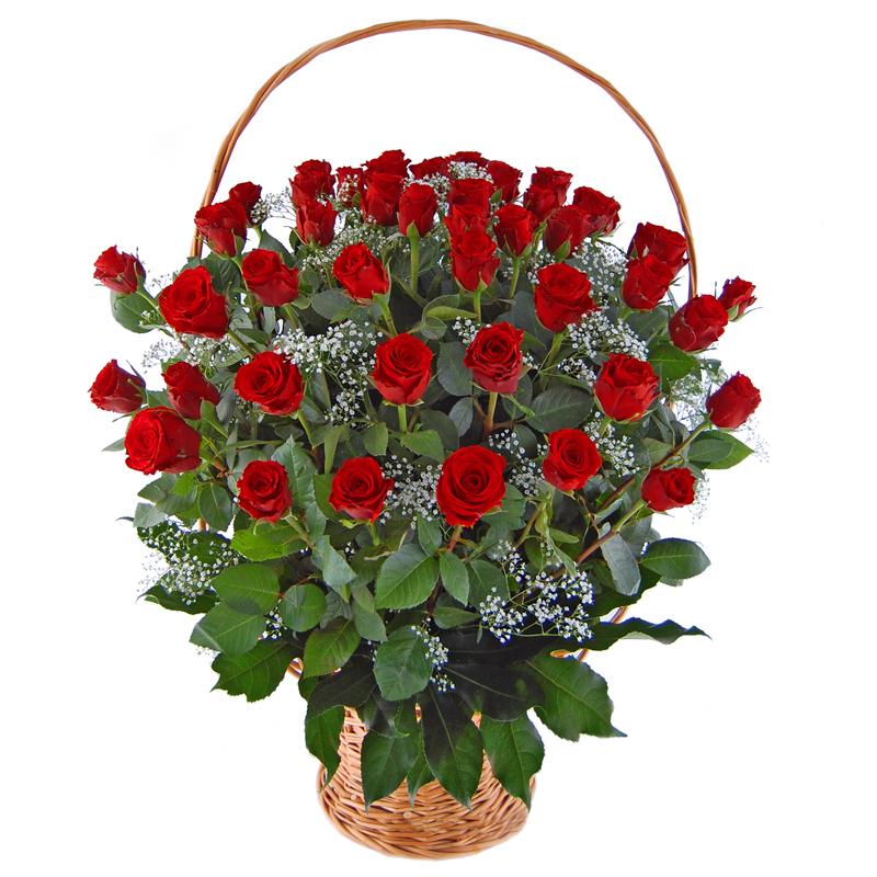 50 róż w koszu Kwiaty
